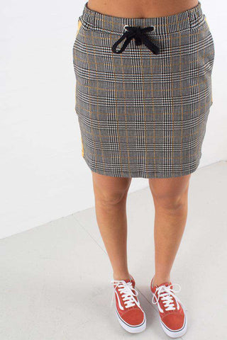 Jacquard Check Skirt - Black/White/Yellow fra NA-KD