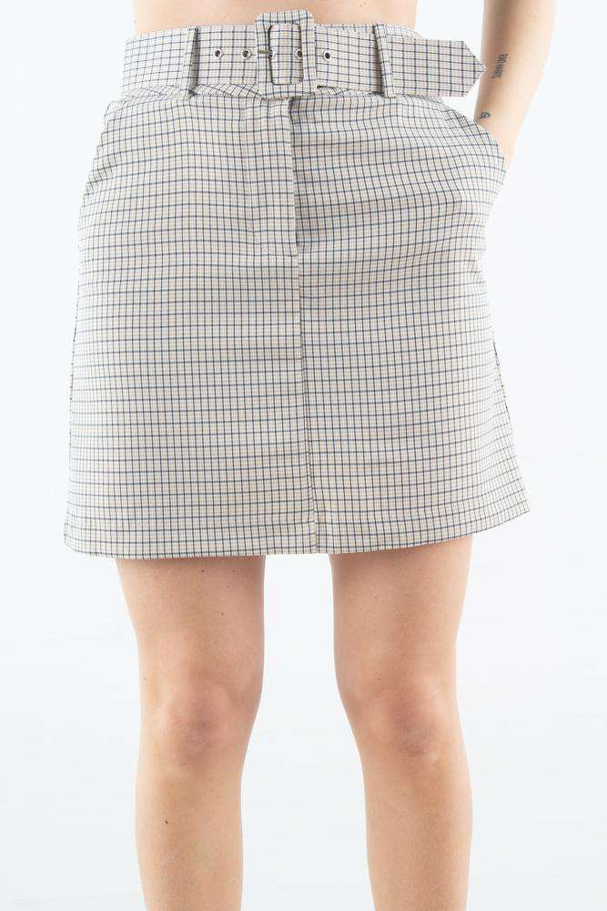 Kaia Skirt - Belted Spring Check - 2ND ONE - Tern XS