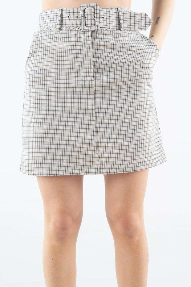Kaia Skirt i Belted Spring Check fra 2ND ONE