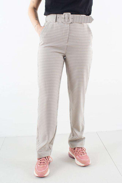 Kaia Pants i Belted Spring Check fra 2ND ONE