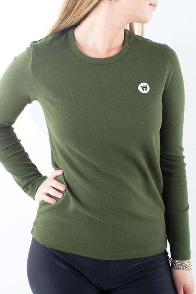 Moa Long Sleeve Army green grøn Wood Wood