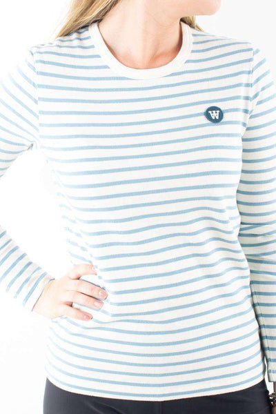 Moa Long Sleeve Off white/blue stripes blå stribet Wood Wood