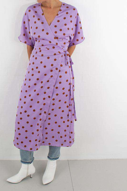Elsie wrap dress - Purple/Caramel dot - Purple/Caramel dot 40