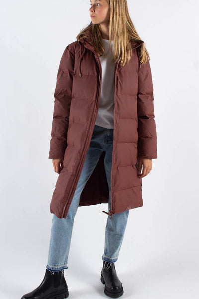 Long Puffer Jacket - Maroon - Rains