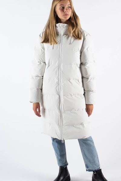 Long Puffer Jacket - Off White - Rains