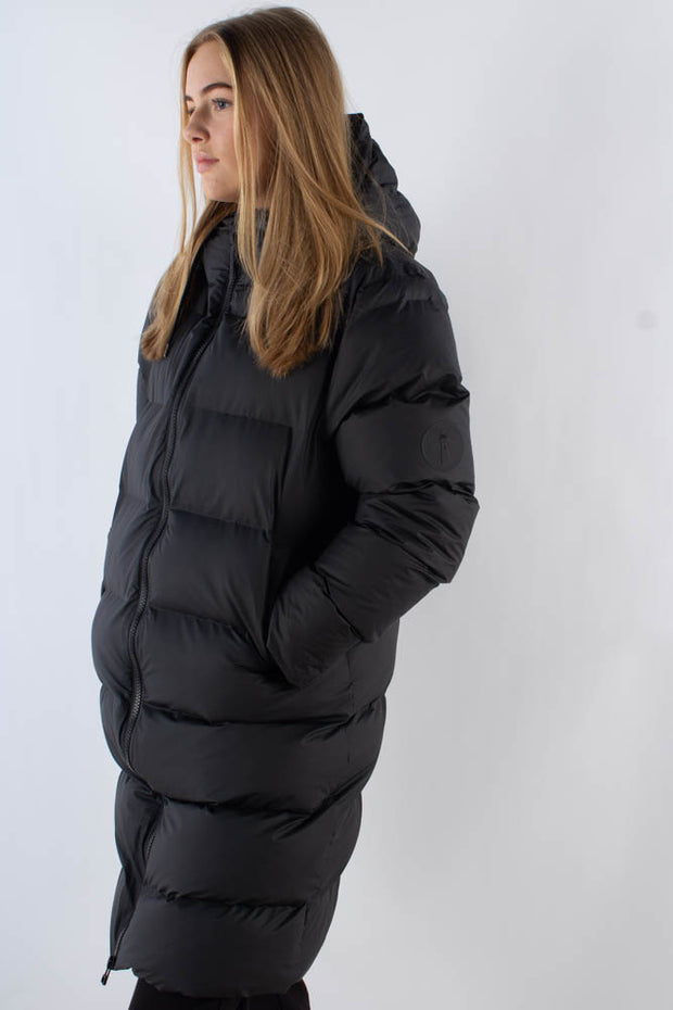 Long Puffer Jacket - Black - Rains