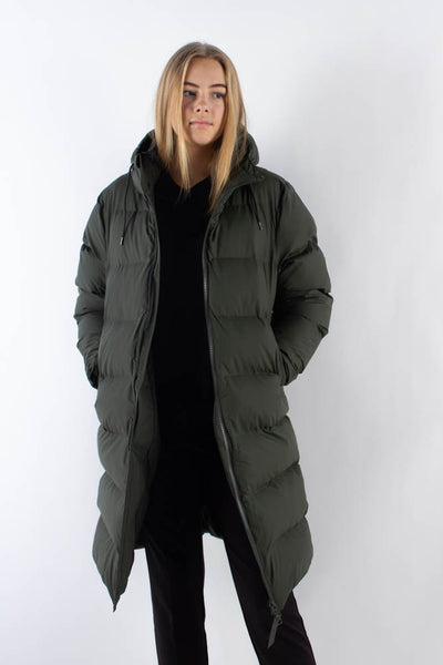 Long Puffer Jacket - Green - Rains