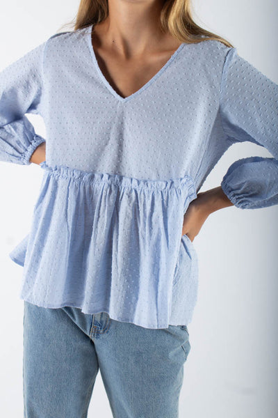 Michas long sleeved blouse - Spring Blue - Moves