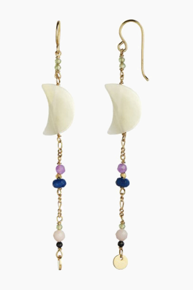 Midnight Moon Pearl Earring - Gold With Gemstone - Stine A