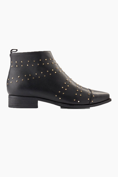 Miho Zip Studs Læderstøvle - Black - Shoe The Bear