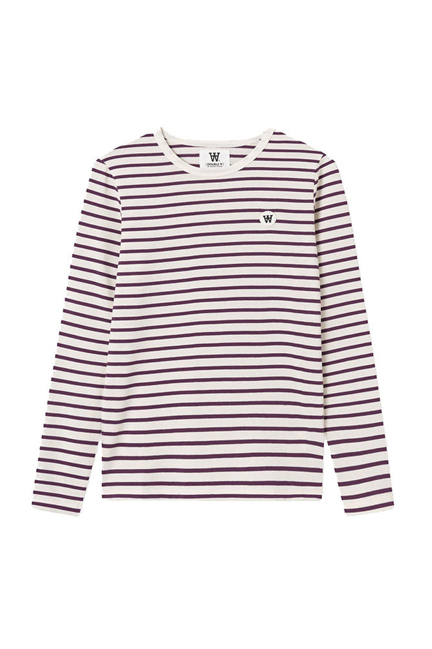 Moa Long Sleeve - Off-white/aubergine Stripes - Wood Wood