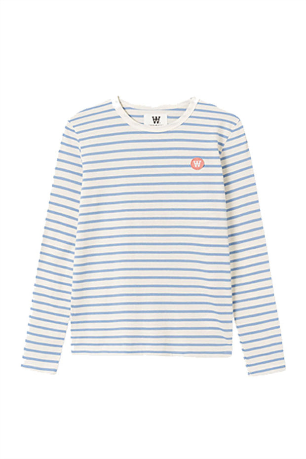 Moa Long Sleeve - Off-white/blue Stripes - Wood Wood