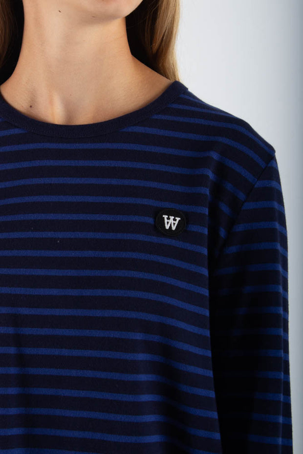 Moa Long Sleeve - Navy/Blue Stripes - Wood Wood