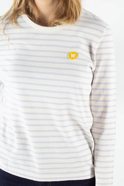 Moa Long Sleeve - Off White/Lilac Stripes - Wood Wood