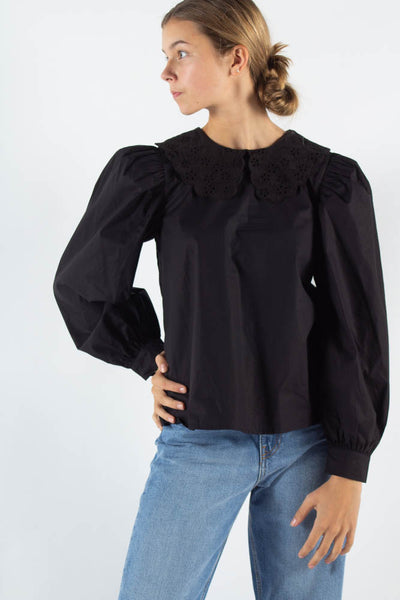 Ovi Long sleeved blouse - Black - Moves