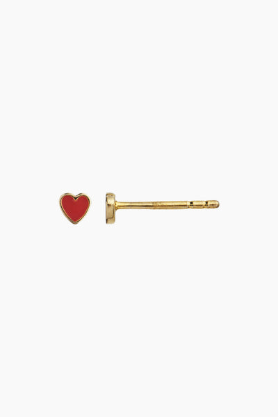 Petit Love Heart - Red Coral Enamel - Gold - Stine A