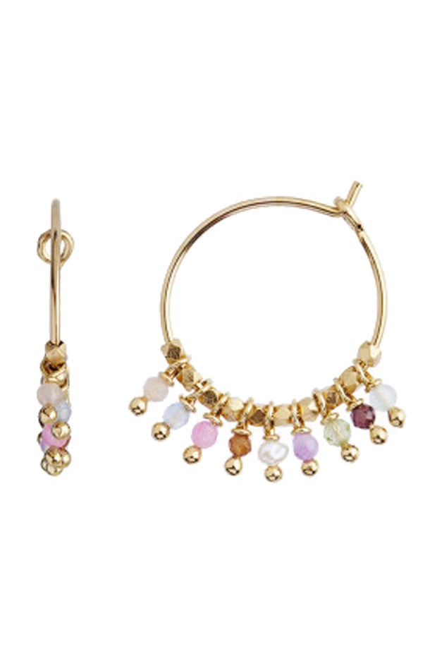 Petit Rainbow Hoop with Pastel Mix Stones - Gold - Stine A
