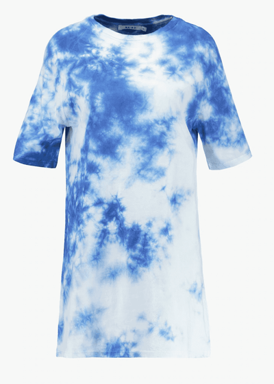 Oversized Tie Dye T-shirt Dress - Blue - NA-KD 5