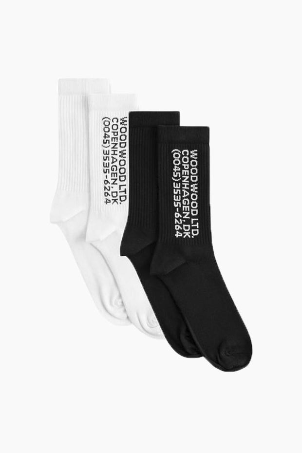 Gail 2-pack Socks - White/Black - Wood Wood