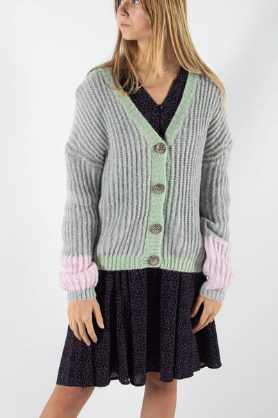 Vinse Cardigan - Light Grey Melange - Moves