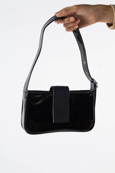 Yasmin Shoulder Bag - Black Lacquer - Silfen Studio