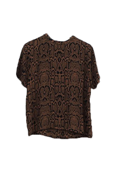 Esma Tobacco Brown snakeprint t-shirt bluse Minimum 3