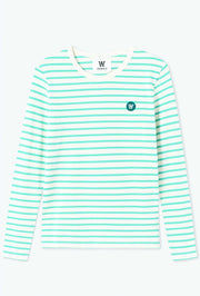 Moa Long Sleeve - Off white/blue stripes - Wood Wood