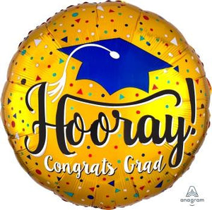 Jumbo Hooray Gold Congrats Grad Balloon - USA Party Store