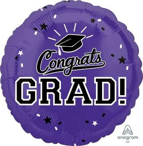 Purple Congrats Grad Balloons - USA Party Store