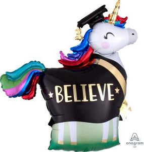 Believe Grad Unicorn Balloon - USA Party Store