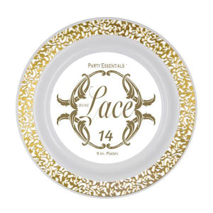 9″ LACE PLATES – WHITE W/ GOLD EDGE 14 CT. - USA Party Store