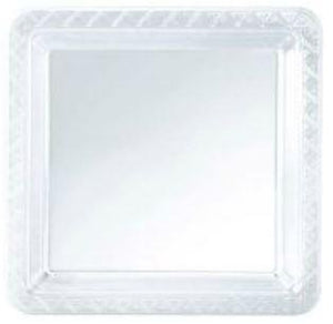 "9"" Clear Square Dinner Plates - 8 CT - USA Party Store"