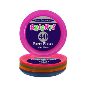 ASSORTED NEON PARTY PLATES, 6″ 40 CT. - USA Party Store