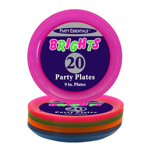 ASSORTED NEON PARTY PLATES, 9″ 20 CT. - USA Party Store