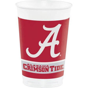 Alabama Crimson Tide Plastic Cups, Classic Red - 8 count - USA Party Store