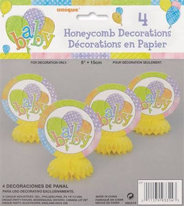 Baby Colors Mini Honeycomb Decorations, 4ct - USA Party Store