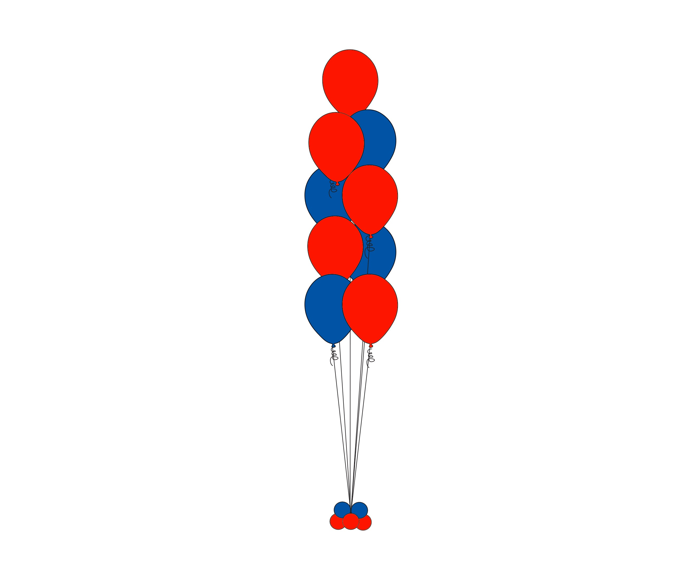 9 Balloon Floor Bouquets Column *** Pick-up Or Delivery