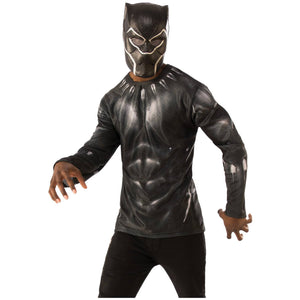 Black Panther Men's Costume Top - USA Party Store