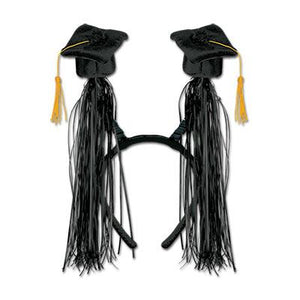 Black Grad Cap With Fringe Boppers - USA Party Store