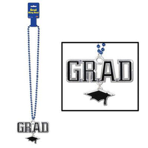 Blue Beads With Grad Medallion - USA Party Store