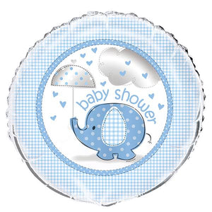 Blue Elephant Baby Shower 18 inch Foil Balloon - USA Party Store