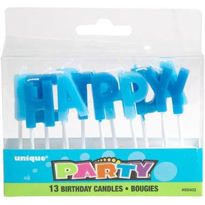 Blue Letter Birthday Candles, 13pc - USA Party Store