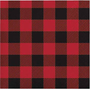 Buffalo Plaid Beverage Napkins, Black/Red - 2 ply 16 count - USA Party Store