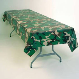 Camouflage Plastic Tablecloth 54 in x 96 in - USA Party Store
