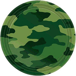 "Camouflage Round Plates, 7"" - 8 Count - USA Party Store"