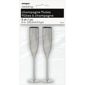 Champagne Flutes 2/Pkg-Silver - USA Party Store