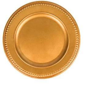 Rental - Plastic Charger Plate - Gold - USA Party Store