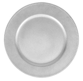 Rental - Plastic Charger Plate - Silver - USA Party Store