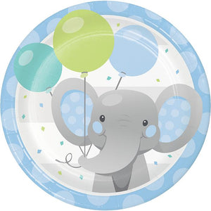 "Enchanted Elephant Blue Plate 7"" - USA Party Store"