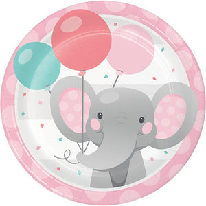 "Enchanted Elephant Pink Plate 9"" - USA Party Store"